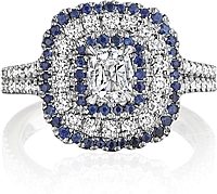 Henri Daussi Sapphire and Diamond Engagement Ring