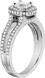 This image shows the setting with a .50ct cushion cut center diamond. The setting can be ordered to accommodate any shape/size diamond listed in the setting details section below.