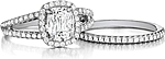 This image shows the setting with a 1.00ct cushion cut center diamond. The setting can be ordered to accommodate any shape/size diamond listed in the setting details section below. Shown with the matching wedding band; Sold separately.