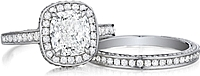 Henri Daussi Three Sided Pave Diamond Band