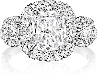 Henri Daussi Three Stone Diamond Engagement Ring Hzcmb