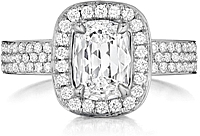 Henri Daussi Triple Row Diamond Engagement Ring