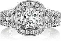 Henri Daussi Wide Halo Diamond Engagement Ring