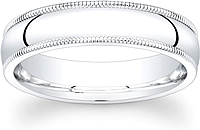 High Polished Milgrain Men's Wedding Band-5mm