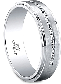 Jeff Cooper Brushed Finish Diamond Wedding Band-6mm