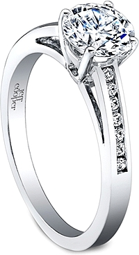 Jeff Cooper Channel-Set Engagement Ring with Round Brilliant Side Stones