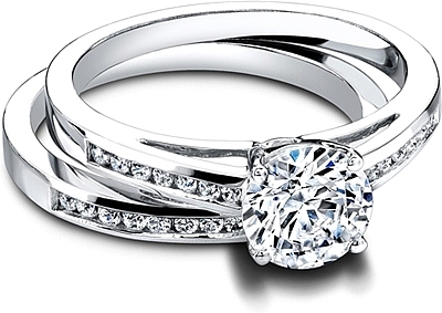 Jeff Cooper ChannelSet Engagement Ring with Round Brilliant Side