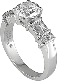 Jeff Cooper Diamond Bar Setting w/ baguettes & Round Diamonds