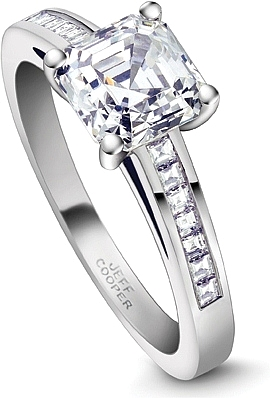 this image shows the setting with a 100ct asscher cut center diamond the setting - Square Wedding Rings