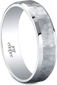 Jeff Cooper Hammered Men's Wedding Band-6mm