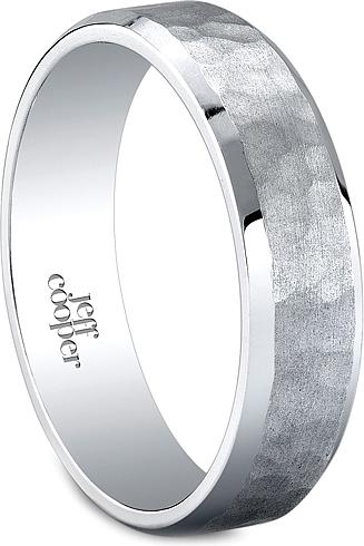 Jeff Cooper Hammered Mens Wedding Band6mm R5996H