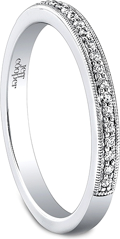 diamond band white wedding bands ring milgrain gold product set number pattern pin