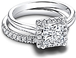 This image shows the setting with a 1.00ct princess cut center diamond. Shown with the matching wedding band; Sold separately.