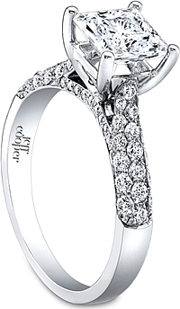 Jeff Cooper Triple Row Pave Diamond Engagement Ring