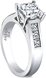 This image shows the setting with a 1.25ct princess cut center diamond. The setting can be ordered to accommodate any shape/size diamond listed in the setting details section below.