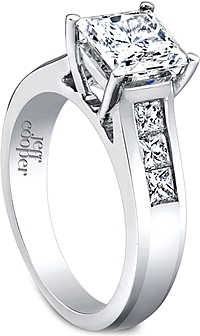 Jeff Cooper Wide Channel-Set Princess Cut Engagement Ring