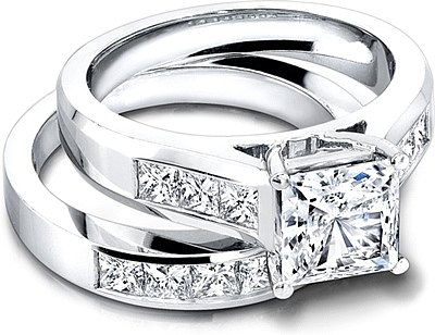 Jeff Cooper Wide ChannelSet Princess Cut Engagement Ring in 14K