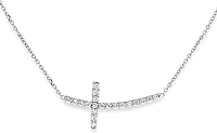 KC Designs 14k White Gold Diamond Sideways Cross