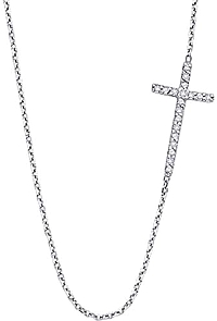 KC Designs 14k White Gold Diamond Sideways Cross Necklace