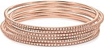 This picture shows six 14k rose gold diamond bangles; Each sold separately.