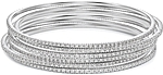 This picture shows six 14k white gold diamond bangles; Each sold separately.