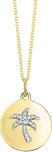 KC Designs 14k Yellow Gold Diamond Disc Necklace w/ Palmtree