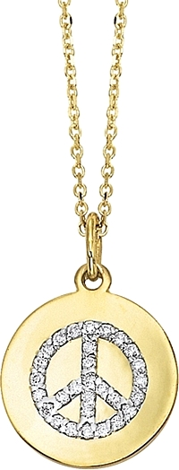KC Designs 14k Yellow Gold Diamond Disc Necklace w/ Peace Sign