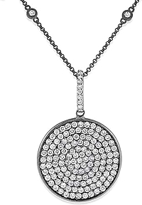 KC Designs Black Rhodium Diamond Disc Pendant