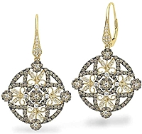 KC Designs Champagne & White Diamond Earrings
