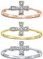 Shown here in 14k rose, yellow and white gold; Each sold separately.