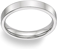 Ladies 14k White Gold Flat Wedding Band - 4mm