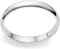 Ladies 14k White Gold Wedding Band - 2mm