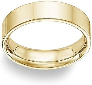Ladies 14k yellow gold flat wedding band 6mm fg01f060yl junglespirit
