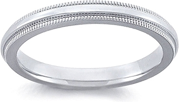 Ladies Platinum Comfort Fit Milgrain Wedding Band FG11MIRO25PL