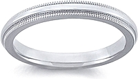 Ladies Platinum Comfort-Fit Milgrain Wedding Band - 2.5mm