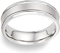 Ladies Platinum Wedding Band with Brushed Center - 4mm