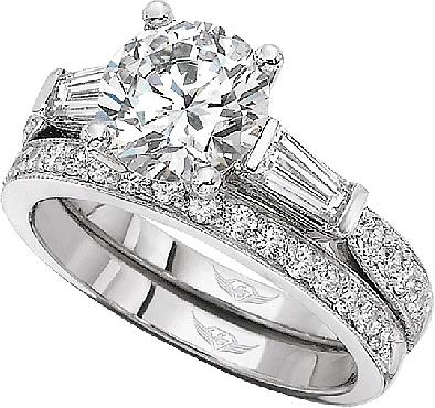 Heart Shape Diamon Side Stone Engagement Ring