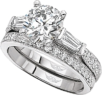 Martin Flyer Baguette and Pave Diamond Engagement Ring