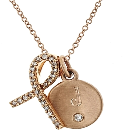 Maya J 14k Gold Breast Cancer Charm Necklace PL149
