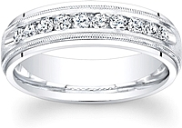 Men's Diamond Wedding Band-6mm