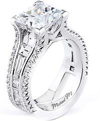 Michael M Baguette Diamond Engagement Ring