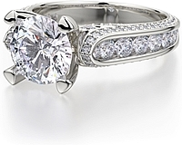 Michael M. Channel & Pave Set Diamond Engagement Ring