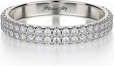 michael m double row diamond wedding band r483b - Double Band Wedding Ring