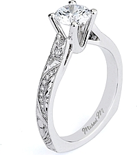 Michael M. Engraved Diamond Engagement Ring