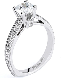 Michael M. Engraved Pave Diamond Engagement Ring