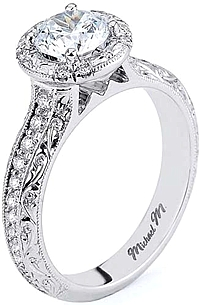 Michael M Engraved Pave Diamond Engagement Ring