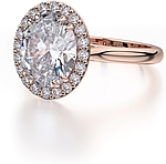 This image shows the setting with a 2.50ct oval cut center diamond. The setting can be ordered to accommodate any shape/size diamond listed in the setting details section below.