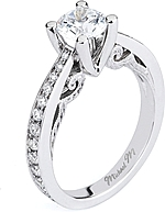 This image shows the setting with a .75ct round brilliant cut center diamond. The setting can be ordered to accommodate any shape/size diamond listed in the setting details section below.