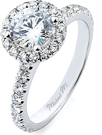 Michael M. Pave Halo Diamond Engagement Ring