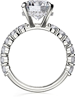 This image shows the setting with a 3.00ct round brilliant cut cut center diamond. The setting can be ordered to accommodate any shape/size diamond listed in the setting details section below.
